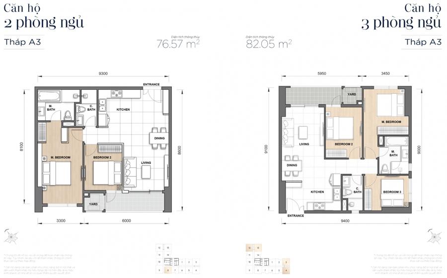 Mặt bằng căn hộ loại B với diện tích 81 m2