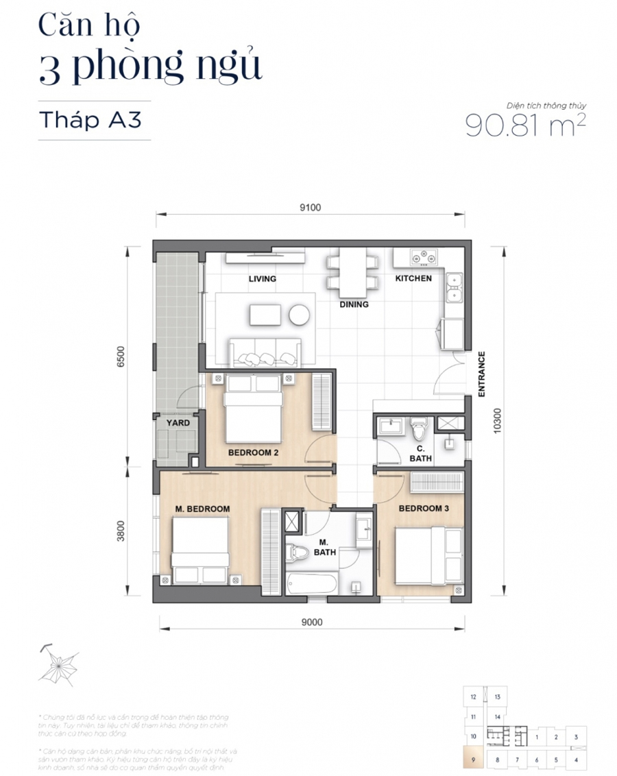Mặt bằng căn hộ 3 PN